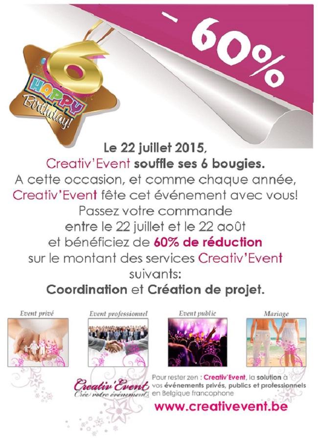 Creativ'Event fête son anniversaire avec vous!