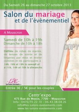 Salon du mariage et de l 39 evenementiel du centr 39 expo de mouscron mouscron les samedi 26 et - Salon les charmettes mouscron ...